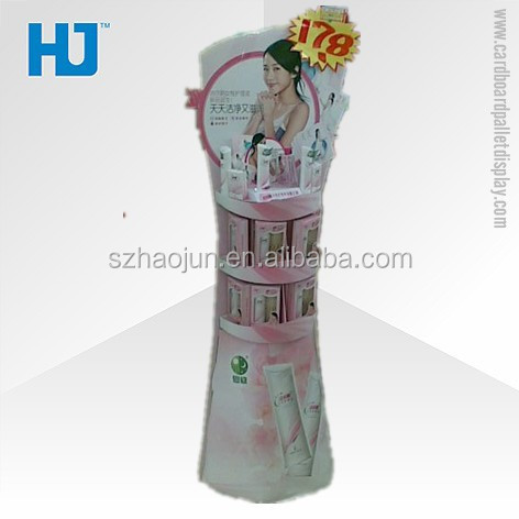 Merchandising promotional convenience store display racks for baby wash, recycling material retail cosmetics store counter