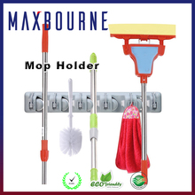 hotselling home garden tool wall mounted plastic 5 position mop and broom organizer
