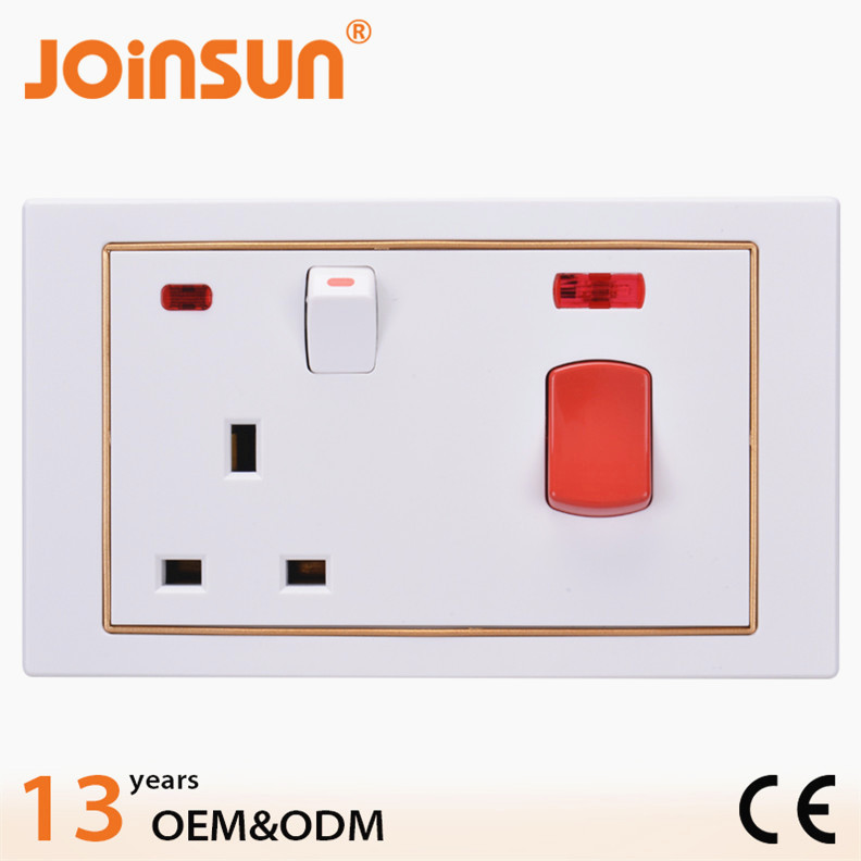 Wholesale price 45A wall socket with 3 pin electrical brass plug pin