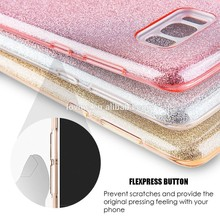 3 in 1 drop proof MOQ 20 TPU + PC bling glitter case back cover for samsung galaxy s8