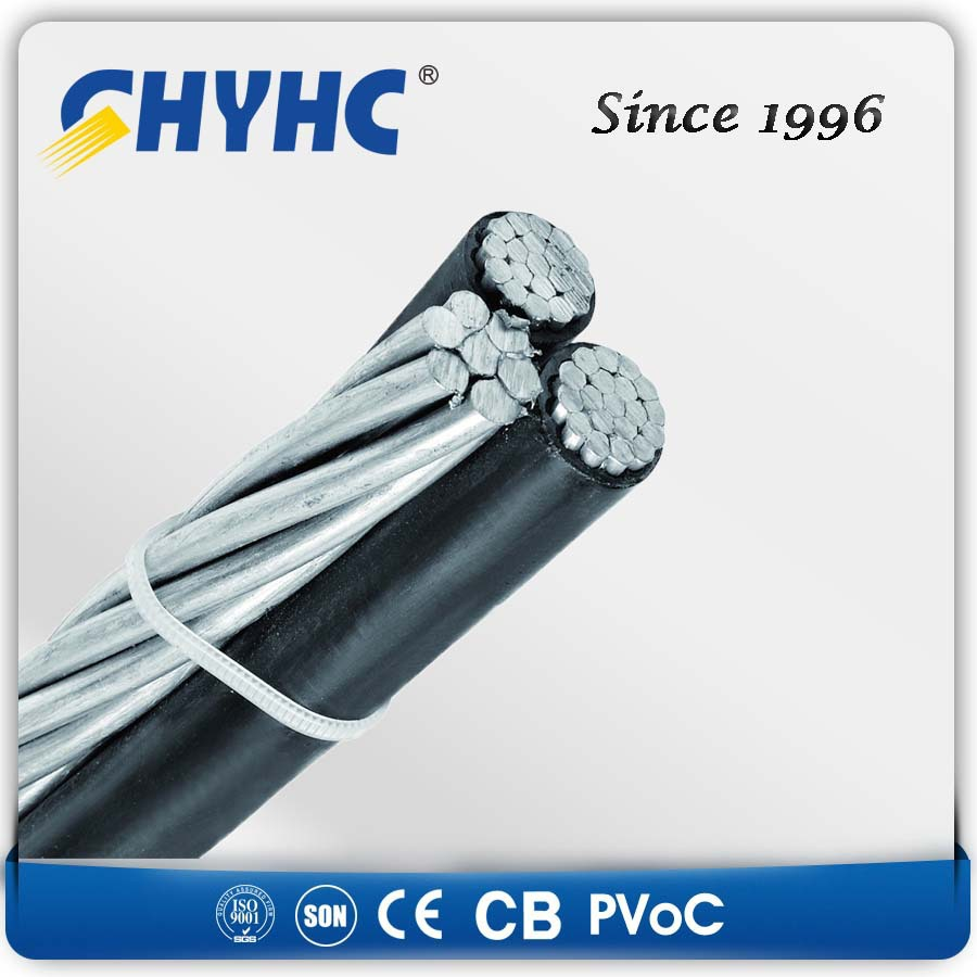 XLPE Insulated Aerial Bundled Cables 6.35/11,12.7/22,19/33kV ce/vde approved al/xlpe overhead abc cable 25mm 35mm 50mm 70mm