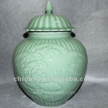 RYNT13 H34cm hand made celadon ceramic ginger jar