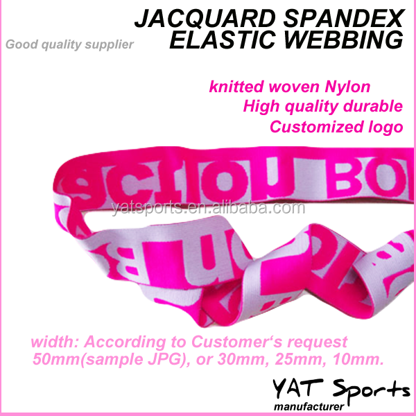 High quality durable knitted woven Nylon Customized logo jacquard elastic tape
