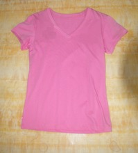 OEM Wholesale 100% Cotton V Neck Woman 220 Gram Fabric T Shirt