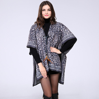 The latest popular acrylic winter lady leapord style poncho