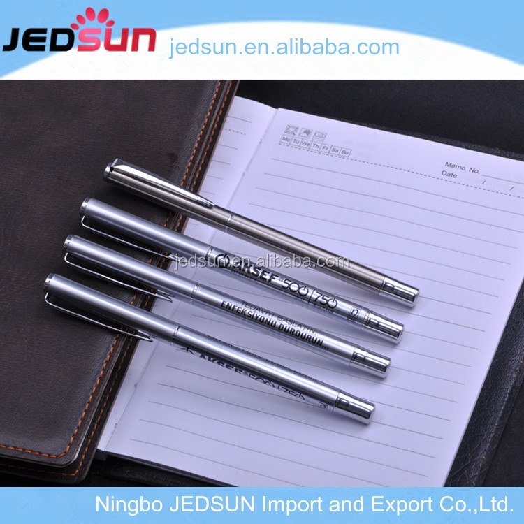 Hot selling promotion raw materials of slim silver metal ball pen