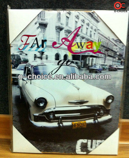 WK-46 Indian Raised Art Canvas Beautiful Car Oil Painting