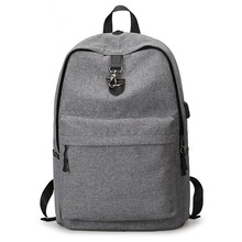 Grey school backpacks laptop bags withe USB charging port