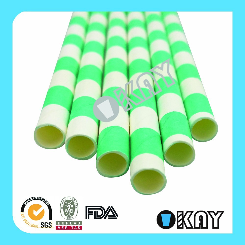 Free Shipping by <strong>DHL</strong> Green and White Mixed Paper Straws