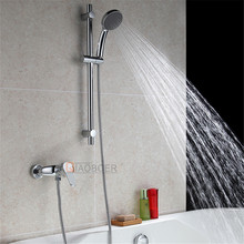 Sanitary ware slide bar rising brass chrome wall mounted shower faucet set