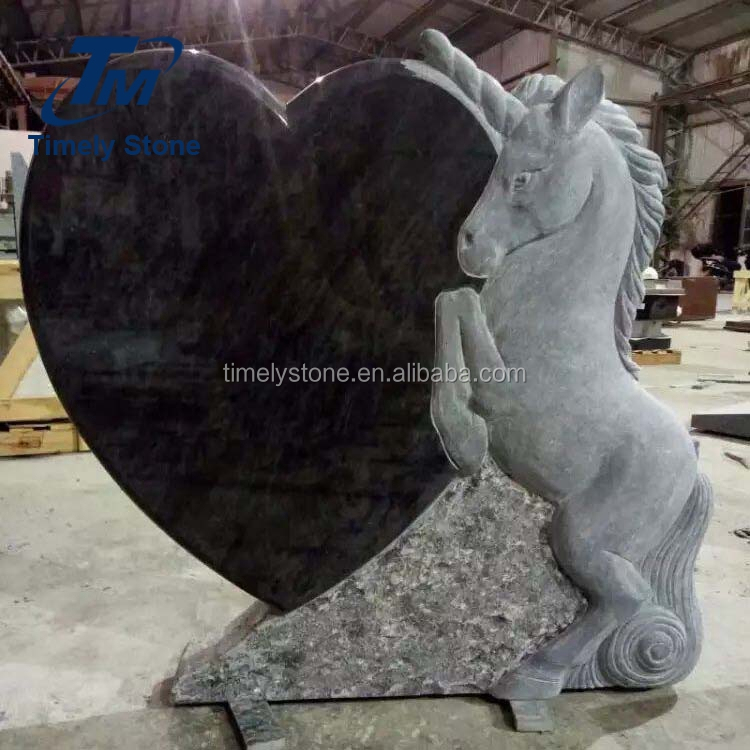 Heart design horse headstone memorials