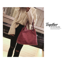 New Europe and America Fashion Women Bag Plaid Casual Single Shoulde Bag Large Bag In Handbag