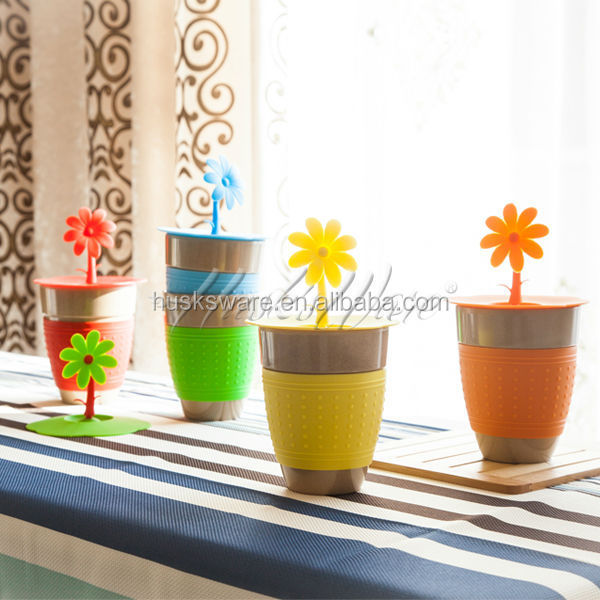 Beverage Mug With Colorful Grip & Lid, Purely Organic, Non Plastic, Eco-product, Biodegradable