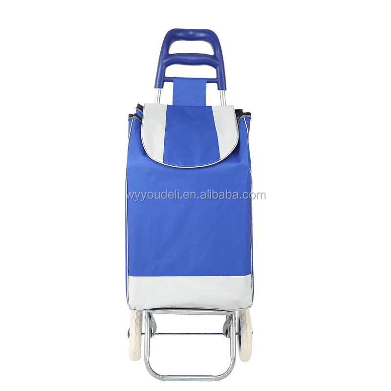 wholesale polyester cheap folding shopping trolley bag with wheels