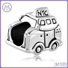 Rhodium plating New York City Taxi Car bead for boys European charms bracelet