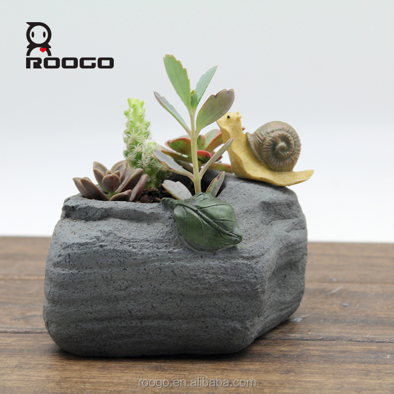 Roogo snail imitation stone shape serie 4 indoor plant pot for bonsai ideas