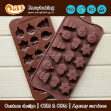 Hot Selling Custom 15 Cavities Christmas Silicone Chocolate Mold