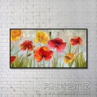 Modern abstract art oil painting of flowers