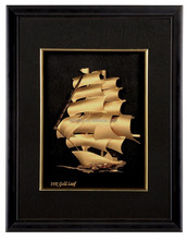 24k Gold Foil Leaf Sail Boat <strong>Picture</strong> High Quality Decorated 3d Gold Foil Photo Frame