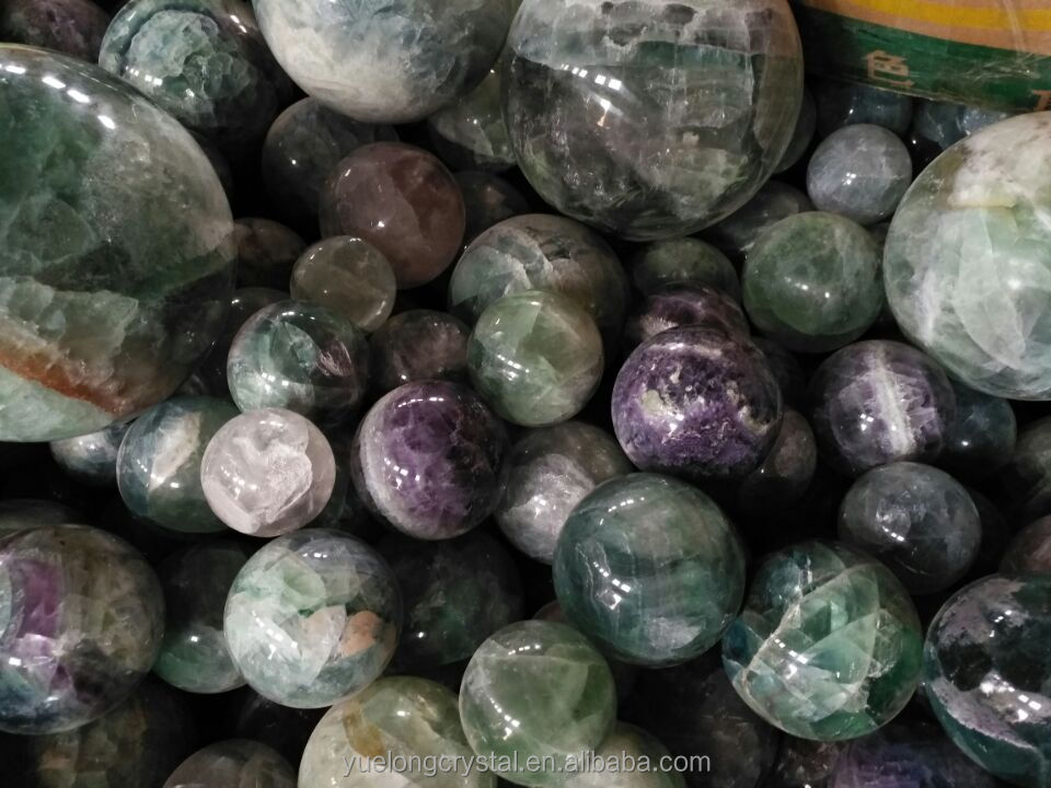 Wholesale Natural Rock Polished Green Fluorite Crystal Ball Rainbow Fluorite Crystal Spheres