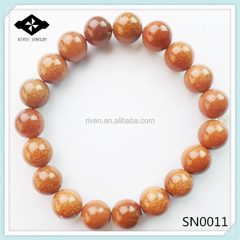 SN0011 Stretch 4mm 6mm 8mm 10mm Round Beads Natural gold sand stone bracelet.jpg