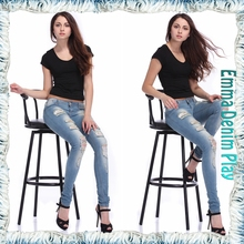 5 Pocket Style Unique Destroyed Rip Fray Cotton Low Rise Women Super Skinny Jean Trousers