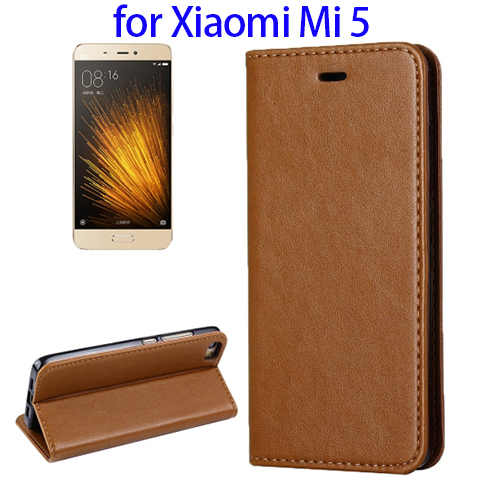In Stock Now Leather Flip Cover Case for Xiaomi Mi5, Back Cover for Xiaomi Mi5 with Wholesale Price