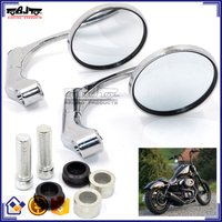 BJ-RM-070 Universal Round Aluminum Chrome Street Bike with M10 Adapter Round Motorcycle Mirrors