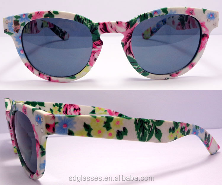 Wholesale manufacturer high standard quality round shape frame flower printing plastic women fashion sunglasses