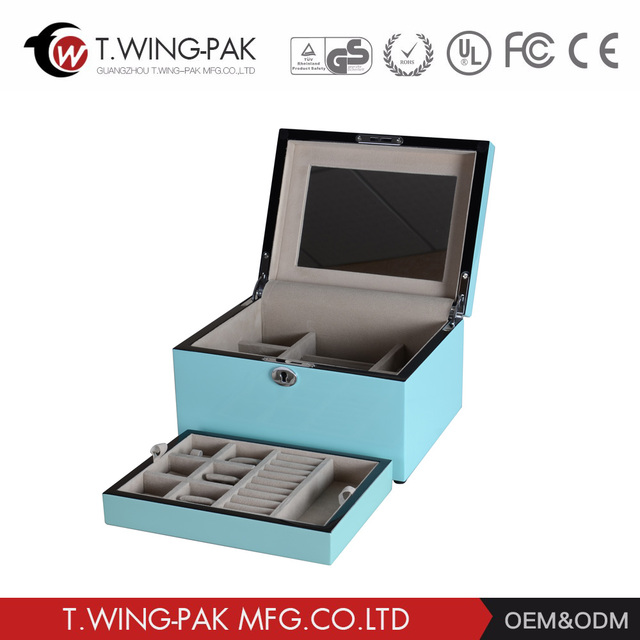 Professional factory supply hanging wooden mirrored jewelry box with drawers and key lock