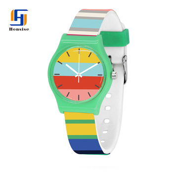 2018 New Colorful Color Geometry Students Silicone Analog Display Quartz Watch