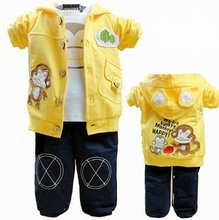 Fashion cartoon monkey printed casual baby clothing sets(3 pcs)