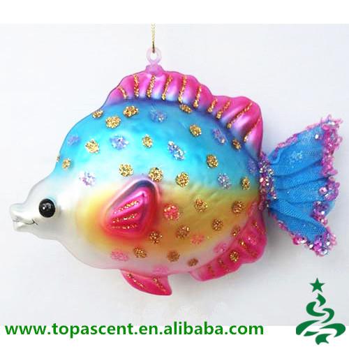 Mooie traditionele kerst ornamenten geblazen glas vis for Glass fish ornaments