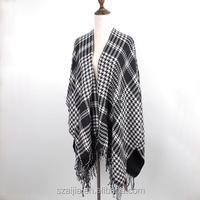 New Fashion autumn winter women's thicke nponch checked vent cape scarf pashmina