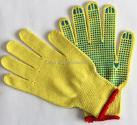 Industrial cotton work gloves with rubber grip dots