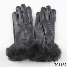 TOROS Women Leather gloves women fashion Custom made leather glove with fur