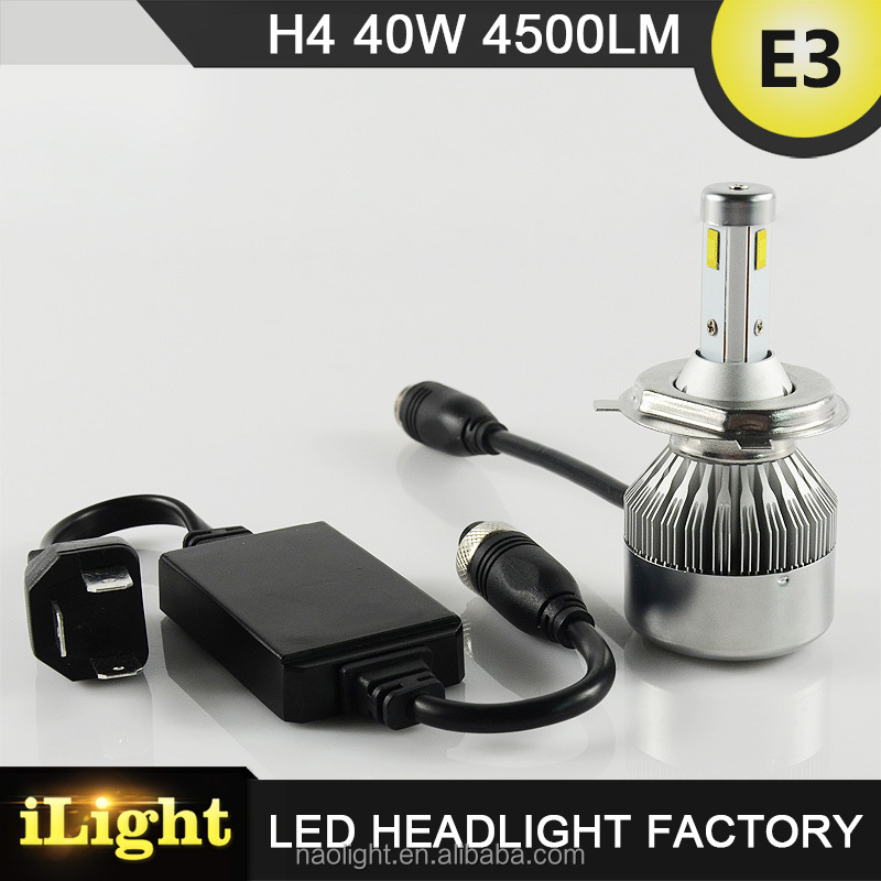 Factory direct price 3 sides LED design 40W 4500LM car h4 led headlight bulbs
