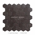 "The Hot Sale Kitchen Backsplash 2"" Polished Graphite Gray Marbel Hexagon Mosaic"