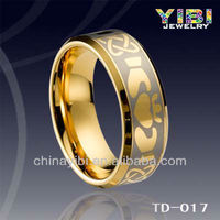 Mens Gold Plated Engraved Wedding Tungsten Carbide Ring