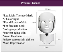 Professional 7 color PDT phototherapy electric face neck LED mask