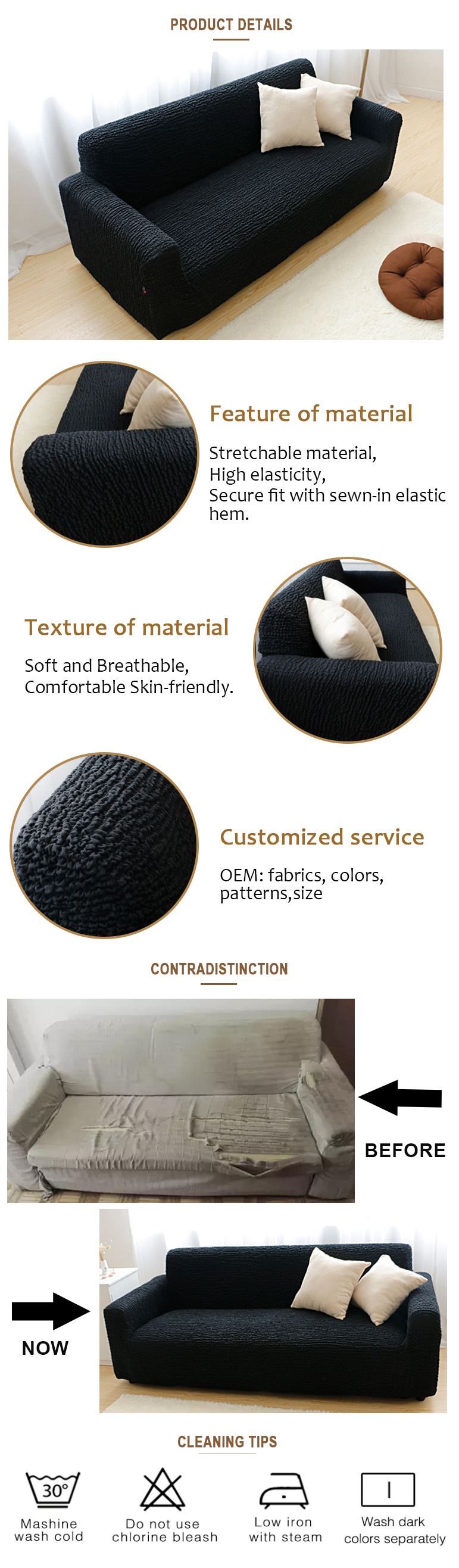 2019 New products innovative product sofa cover,home furniture protector fitted slip sofacover