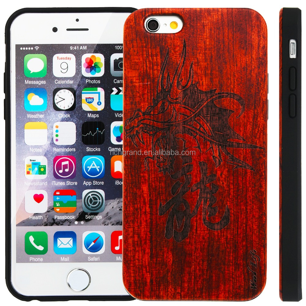 Luxury Wooden Wood+PC dragon pattern hybrid Case For iPhone 6 6s