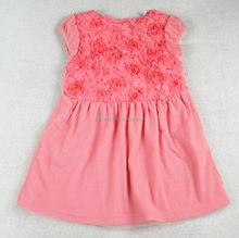 New design pink lace flower birthday dress 1 year old girl