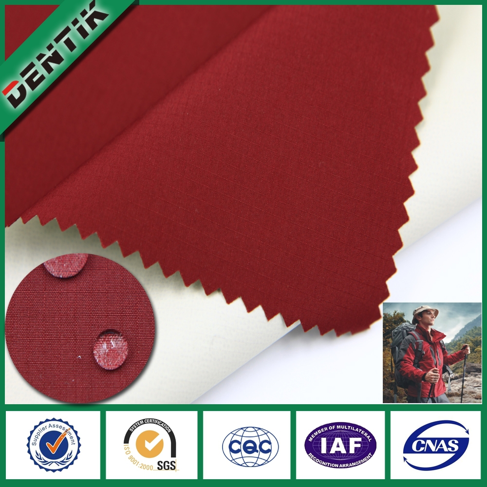 2 Layers 100% Polyester rib stop waterproof breathable ptfe fabric, for protective garment fabric