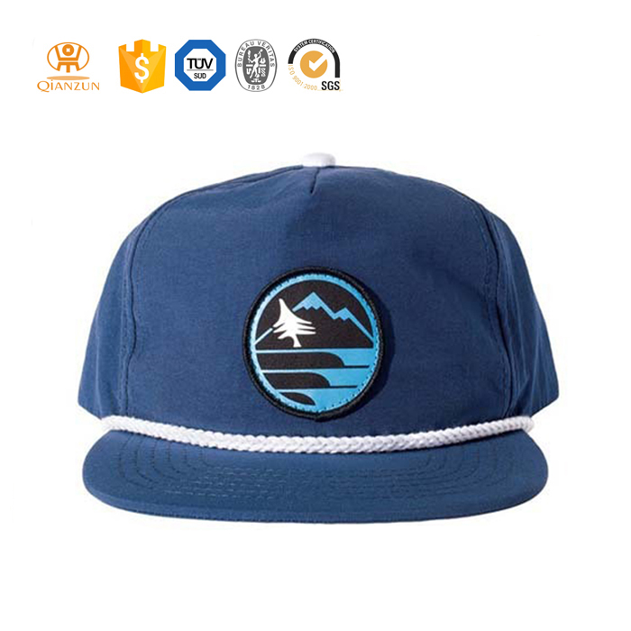 Nylon flat brim with string rope polyester nylon soft baseball snapback hat