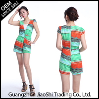 2016 custom made short sleeve colorful V-neck one piece women jumpsuit for ladies