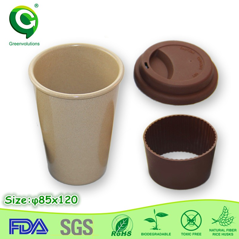 Natural Bamboo Fiber Eco Reusable Travel Coffee <strong>Cups</strong> With Lids