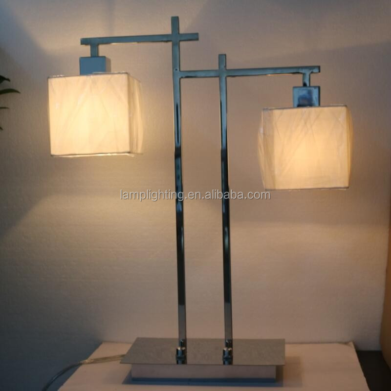 Guzhen Lighting Two Head Hotel Bedside Modern Double Shade Table Lamp