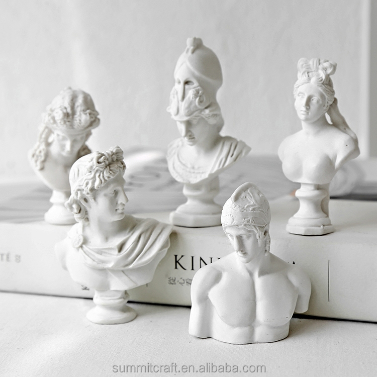 Pure white mini Greek god god resin bust statue