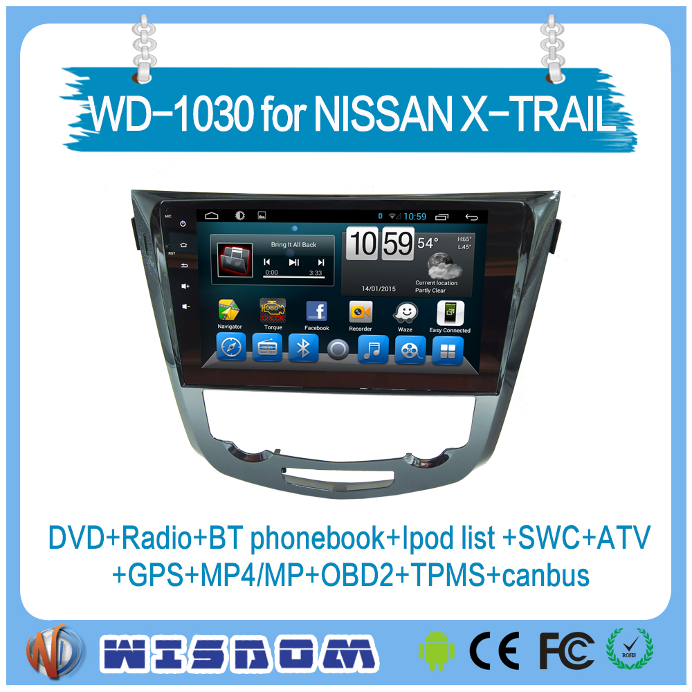 WD-1030 GPS bluetooth 10.1'' touch Screen android car dvd player for Nissan X-TRAIL/QASHQAI reversing camera 2 DIN Radio /DVD